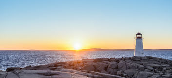Panorama of Peggys Cove Lighthouse at Sunset Royalty Free Stock Image