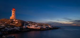 Panorama Peggys Cove's Lighthouse at Dusk Stock Image