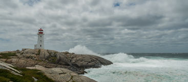 Panorama of Peggys Cove's Lighthouse at Storm Stock Photos