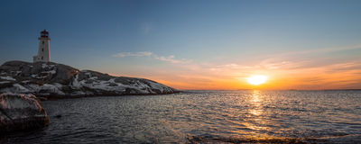 Panorama of Peggys Cove's Lighthouse at Sunset Royalty Free Stock Photography