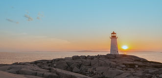 Panorama of Peggys Cove's Lighthouse at Sunset Royalty Free Stock Photos