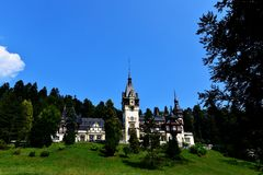 Panorama of Peles Castle in Sinaia - Romania Royalty Free Stock Photo