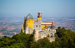 Panorama of Pena National Palace in Sintra, Portugal. Europe Royalty Free Stock Images