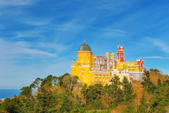 Panorama Pena Palace. Against the background of the ocean. Royalty Free Stock Photography