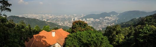 Panorama of Penang George Town from penang hill, penang George Town, Malaysia. Penang Hill is a hill resort comprising a group of peaks on Penang Island royalty free stock photos