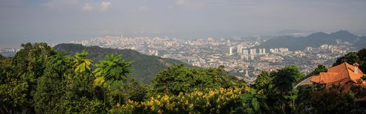 Panorama of Penang George Town from penang hill, penang George Town, Malaysia. Penang Hill is a hill resort comprising a group of peaks on Penang Island royalty free stock photography
