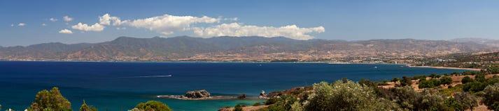 Panorama of peninsula Akamas, Cyprus. Panorama of Mediterranean sea and peninsula Akamas, Cyprus stock photo