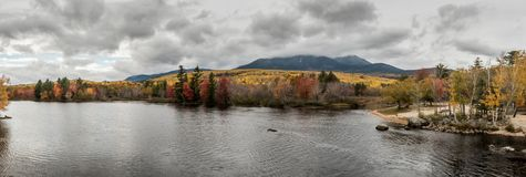 Panorama of Penobscot River & Mount Katahdin. In Baxter State Park Stock Image