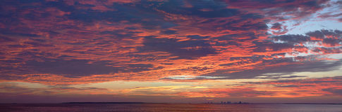 Panorama of Pensacola Bay Sunrise Stock Photography