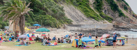 Panorama of people at the beach in Victoria Bay Royalty Free Stock Photos