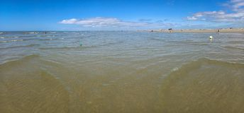 Panorama of German St. Peter-Ording beach at low tide royalty free stock photos
