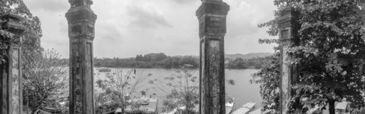 Panorama of Perfume River from Ha Khe Hill in Hue Vietnam royalty free stock image
