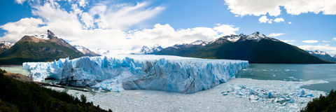 Panorama of Perito Merino Glacier, Argentina. Panorama of Perito Merino Glacier with dramatic cloudscape, Argentina Royalty Free Stock Photos