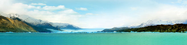 Panorama of The Perito Moreno Glacier. Panorama of Perito Moreno Glacier in Patagonia Park, El Calafate, Argentina Royalty Free Stock Photos