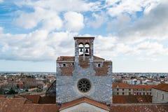 Panorama of Perpignan city, France. Belltower Stock Image