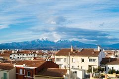 Panorama of Perpignan city, France. View on the mountain Stock Photography