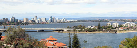 Panorama of Perth City from King's Park. The panorama of Perth City and the Swan River   with the  causeway from King's Park west Australia on a cloudy spring Stock Images