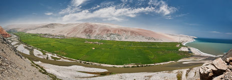 Panorama Peru green valley. Green Valley panorama of Desert Peru between Nazca and Arequipa Stock Image