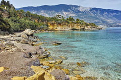 Panorama of Pesada beach, Kefalonia, Ionian islands, Greece Royalty Free Stock Image