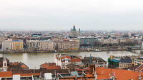 Panorama of Pest side and Danube river in Budapest Stock Photos