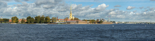 Panorama The Peter and Paul Fortress Royalty Free Stock Photos