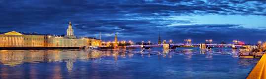 Panorama of the Peter and Paul Fortress and Palace Bridge Royalty Free Stock Images
