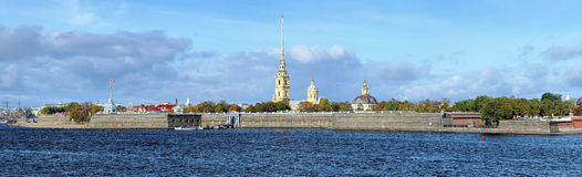 Panorama of the Peter and Paul Fortress in Saint Petersburg, Rus Royalty Free Stock Image