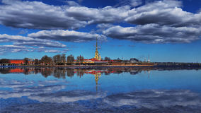 Panorama of the Peter and Paul Fortress in St. Petersburg. Panorama of the Peter and Paul Fortress and Peter and Paul Cathedral in St. Petersburg Stock Photos
