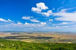 Panorama of Pešter plateau landscape Royalty Free Stock Photos