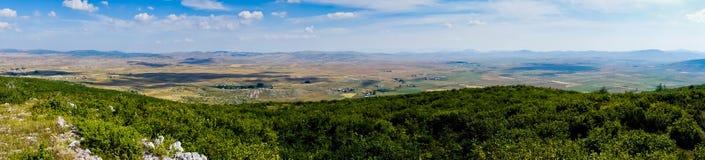 Panorama of Pešter plateau landscape Stock Photos