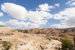 Panorama Petra. Partly cloudy day in Petra,Jordan Royalty Free Stock Photos