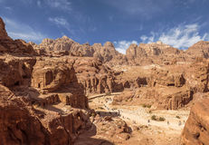 Panorama of Petra in Jordan - ancient city, capital of the Edomites , and later the capital of the Nabataean Kingdom, Royalty Free Stock Photo