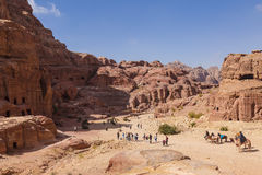 Panorama of Petra in Jordan - ancient city, capital of the Edomites Stock Photo
