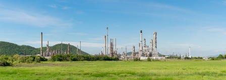Panorama Petrochemicznego przemysłu elektrownia w Tajlandia Fotografia Royalty Free