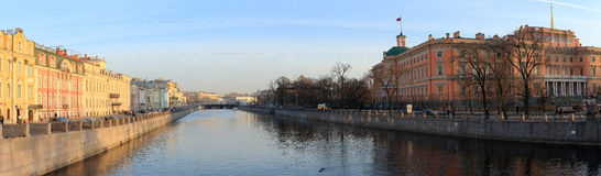 Panorama Petrograd canal at sunset. Saint-Petersburg, Russia Royalty Free Stock Image