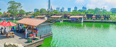 Panorama of Pettah Floating Market in Colombo Stock Photo
