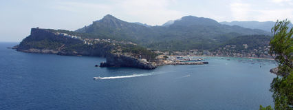 Panorama of Peurto de Soller Mallorca Spain. With lighthouse Bay and mountains Royalty Free Stock Photos
