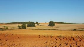 Panorama pflog vor kurzem Ackerland Lizenzfreie Stockbilder