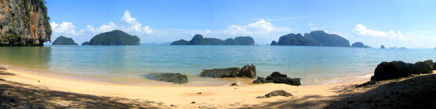 Panorama of Phang Nga Bay, Thailand stock photo
