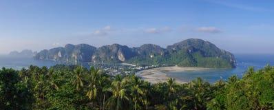 Panorama of Phi-Phi island, Krabi Province, Thailand, Asia. Panorama of Ko Phi-Phi, tropical island from viewpoint, Krabi Province, Thailand, Asia Stock Images