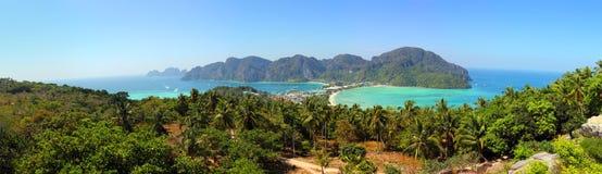 Panorama of Phi-Phi island in Thailand Stock Photo