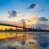 Panorama of Philadelphia skyline, Ben Franklin Bridge and Penn's. Landing sunset Royalty Free Stock Photos