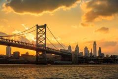 Panorama of Philadelphia skyline, Ben Franklin Bridge and Penn's. Landing sunset Royalty Free Stock Photo