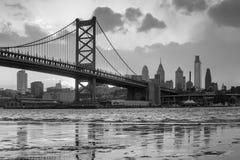 Panorama of Philadelphia skyline, Ben Franklin Bridge and Penn's. Landing sunset Royalty Free Stock Images