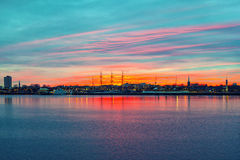 Panorama of Philadelphia. Vibrant colorful panorama of Philadelphia sunset background Stock Photography