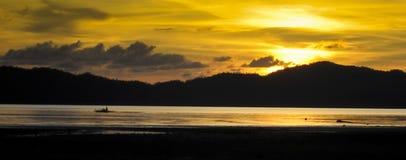 Panorama Philippines palawan de banka de coucher du soleil photo stock