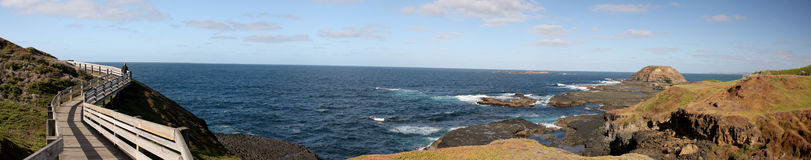Panorama of Phillip Island Nature Park at the penguin parade. Phillip Island nature park is a conservation park located on Phillip Island, Victoria, Australia royalty free stock image