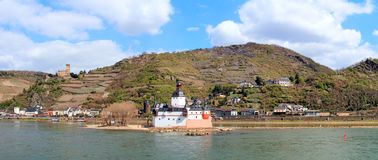 Pfalzgrafenstein and Gutenberg castle at the Rhine. Panorama Photo of castles Pfalzgrafenstein and Gutenfels royalty free stock photo