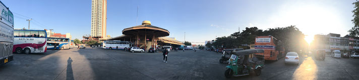 Panorama Photo of Chiang Mai bus station. Royalty Free Stock Photo