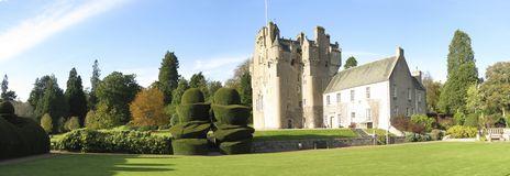Panorama photo of Crathes Castle Stock Image